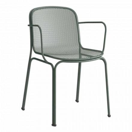 Cadeira empilhável de metal para exterior, fabricada na Itália, 4 peças - Verna