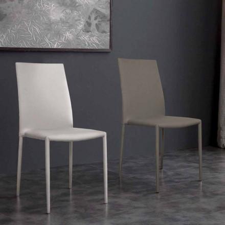 Cadeira de couro ecológico de design moderno Desio, para cozinha ou sala de jantar