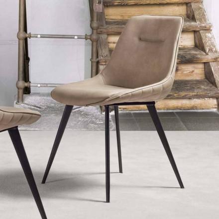 Cadeira eco-couro efeito Nabuk com estrutura metálica - Ermes