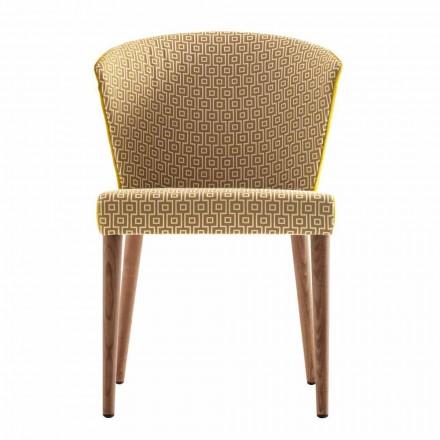 Cadeira estofada de madeira maciça Modern Grilli York made in Italy, 2 pedaços