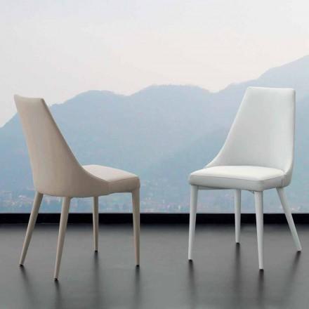 Cadeira de jantar Nepitella, com estofamento de couro ecológico, design moderno