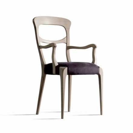 Cadeira de jantar Noemy com braços, Canaletto madeira de nogueira e assento de tecido