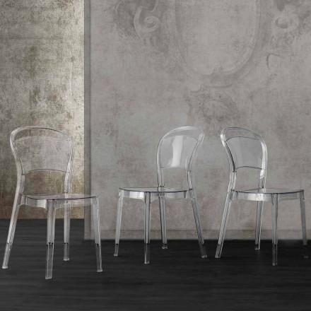 Cadeira de policarbonato transparente com um design moderno da Ferrara