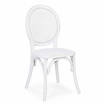 Cadeira Homemotion Classic Design em Rattan e Elm Wood - Alfreda
