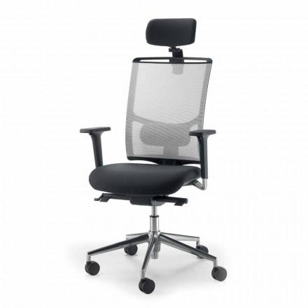 Cadeira de couro falso semidirecional e operativa feita na Itália Mina