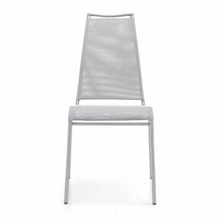 Cadeira viva com encosto alto em aço acetinado Made in Italy, 2 pedaços Air High
