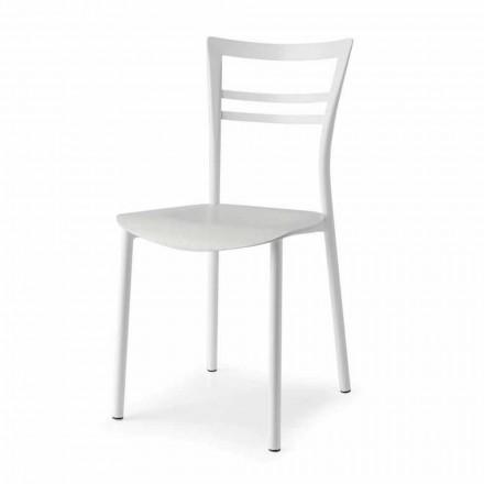 Cadeira Living Design em Metal e Madeira Multicamada Made in Italy, 2 pedaços