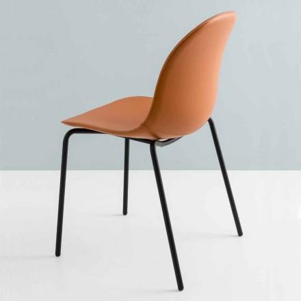 Cadeira moderna Connubia da Calligaris Academy em metal e couro 2 pedaços