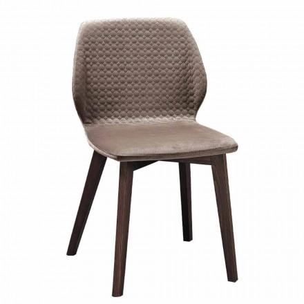 Cadeira de design moderno e elegante em veludo acolchoado e madeira 4 peças - Scarat