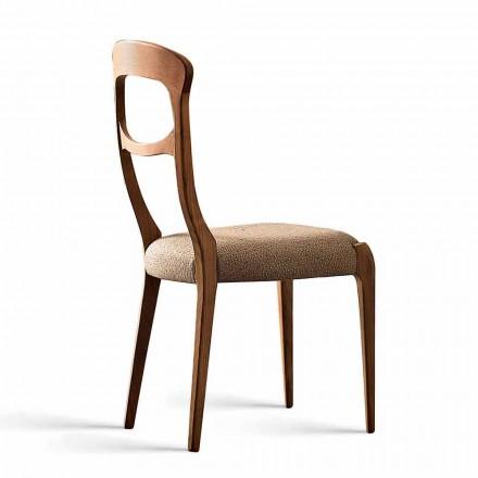 Cadeira de Jantar Gemma com Canaletto estrutura em madeira de nogueira e assento acolchoado