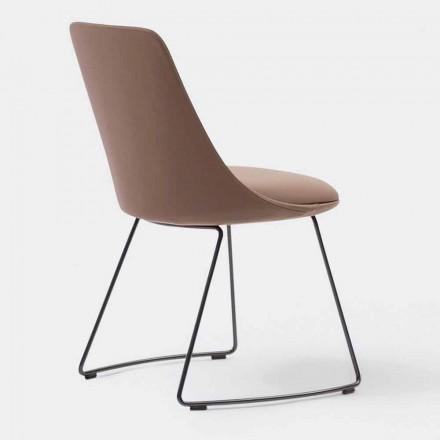 Cadeira de couro moderna com base de trenó fabricada na Itália - Itala Si