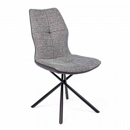 Cadeira Moderna Revestida em Poliéster e Couro sintético 4 peças Homemotion - Plero