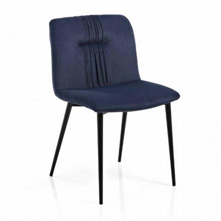 Cadeira Monocoque em Tecido Colorido e Metal Preto Design 4 Peças - Florinda