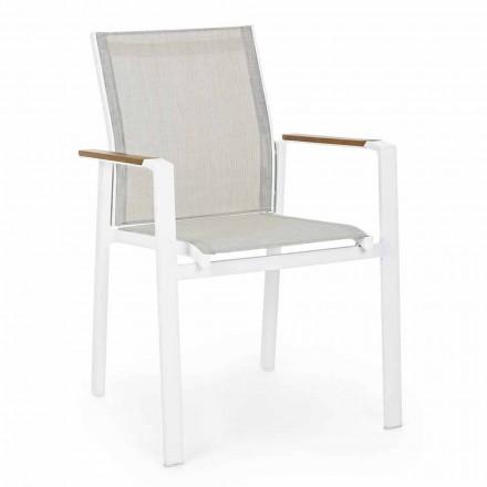 Cadeira empilhável para exterior com braços em alumínio Homemotion - Sciullo