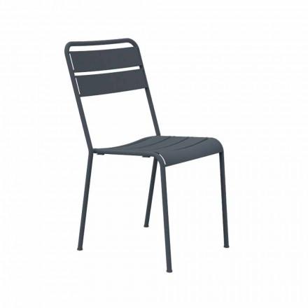 Cadeira empilhável para exterior, revestida a pó, fabricada em Itália, 4 peças - Amina