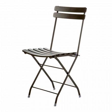Made in Italy Cadeira dobrável de metal para exterior, 4 peças - Lori
