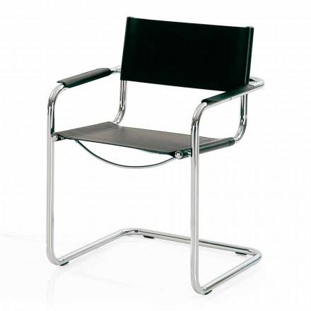 Cadeira para sala de reunião em couro preto e metal - Cirillo