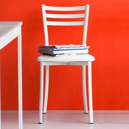 Cadeira de jantar acolchoada em metal e couro fabricado na Itália 2 pedaços- Ace