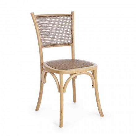 Cadeira Sala de Jantar em Rattan e Madeira Design Clássico Homemotion - Meridia