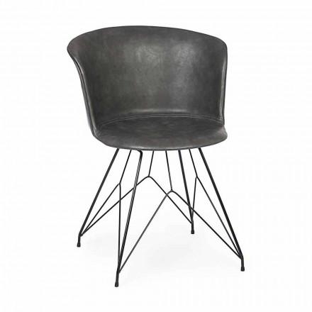 Cadeira Sala de Jantar em Couro e Aço 2 Peças Homemotion - Katya