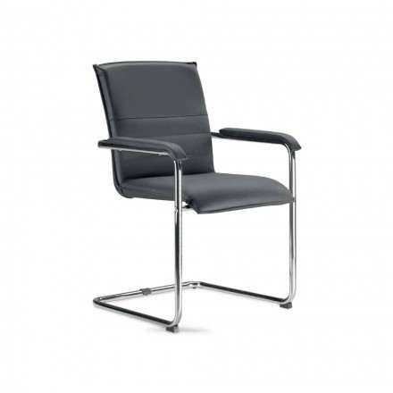 Cadeira da sala de reuniões em couro sintético preto e metal, 2 pedaços - Oberon