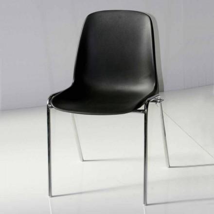 Cadeira para Sala de Reuniões ou Sala de Conferências Moderna em Metal e ABS Preto - Zetica
