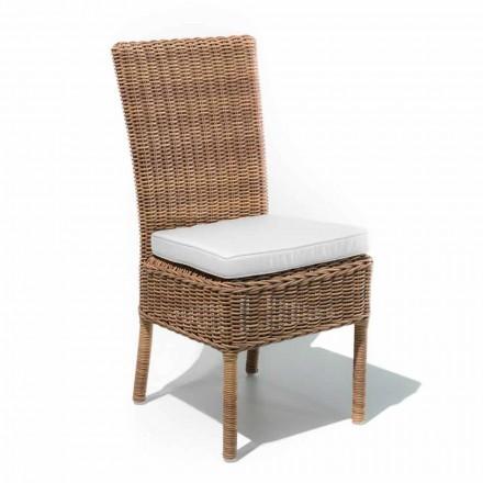Cadeira de jantar ao ar livre em tecido e rattan sintético tecido, 2 peças - Yves