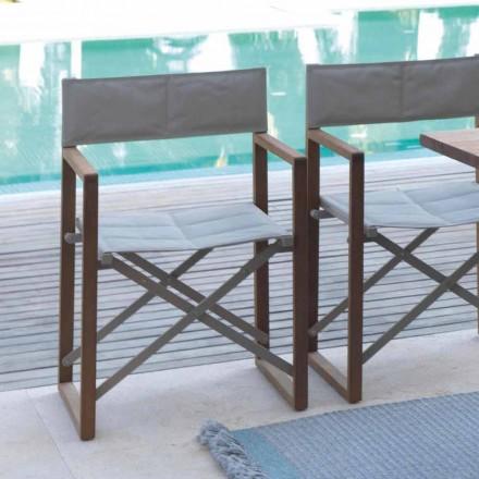 Cadeira de diretor dobrável para uso externo em mogno e ponte Textilene