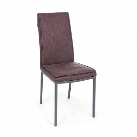Cadeira Estofada em Leatherette Vintage Effect 4 Peças Homemotion - Irama