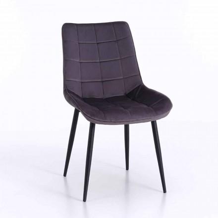 Cadeira para Sala de Jantar em Metal com Assento Estofado e Coberto, 4 Peças - Cronos