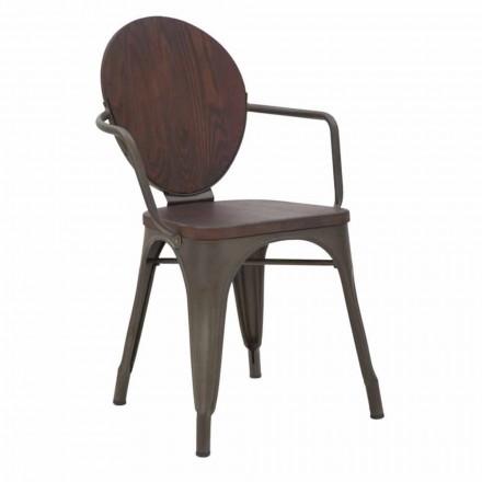Cadeira Design Industrial Assento de Madeira e Base de Ferro, 2 Peças - Delia