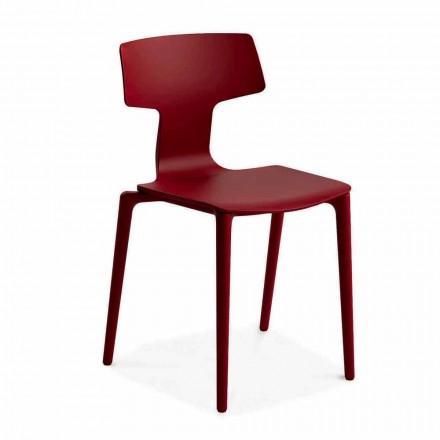 Cadeiras empilháveis de exterior em polipropileno fabricadas na Itália, 4 peças - Claribel