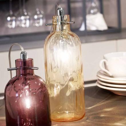Candeeiro de mesa de vidro soprado Selene Bossa Nova Amber, Ø10 A 26cm