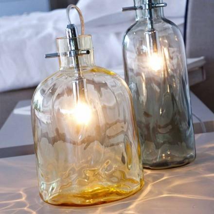 Candeeiro de mesa de vidro soprado Selene Bossa Nova Amber, Ø15 H21cm