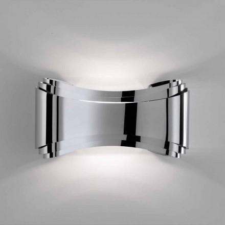 Luminária de parede Selene Ionica, fabricada em Itália 30x10xH16 cm, vidro e aço