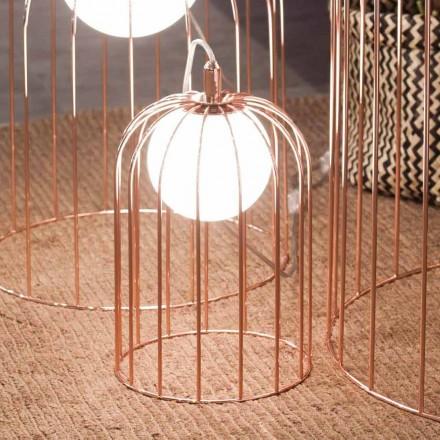 Selene Kluvì moderna luminária de gaiola, feita de vidro e metal, Ø19 A 27cm