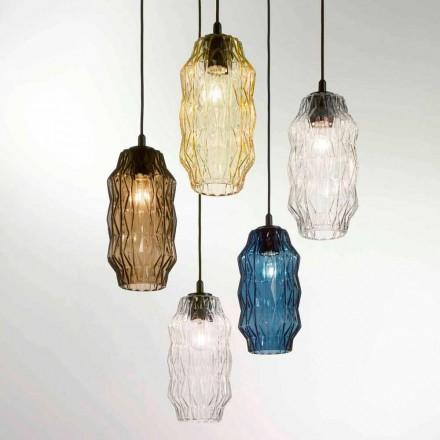 Candeeiro pingente de vidro soprado Selene Origami, Ø16, H30 / 140cm, design moderno