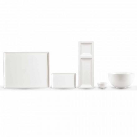Conjunto de 20 pratos em porcelana branca com um design retangular moderno - Laos
