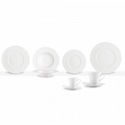 Serviço 24 modernas louças brancas e 12 xícaras de porcelana - Mônaco