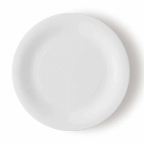 24 Pratos Elegantes em Porcelana Branca - Doriana
