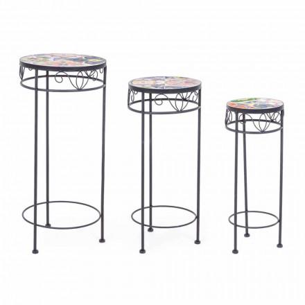 3 Mesas externas de aço redondo com decorações de design - Encantador