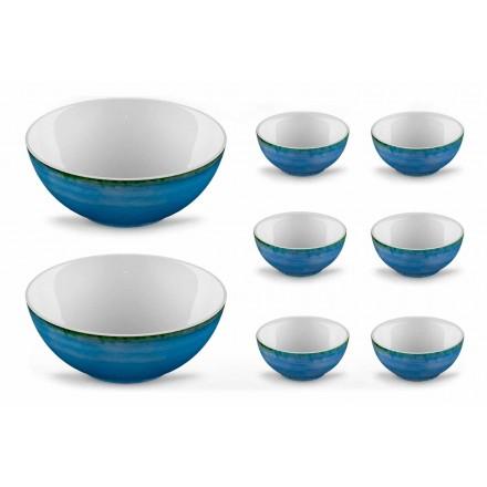 Serviço 6 Taças de Sorvete e 2 Taças em Porcelana Colorida - Rurolo