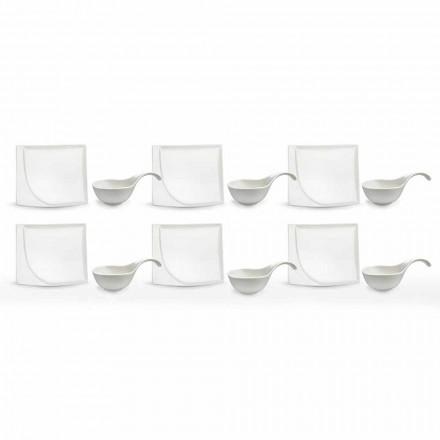Serviço de Aperitivos Pratos Modernos de Porcelana Branca de 12 Peças - Nalah
