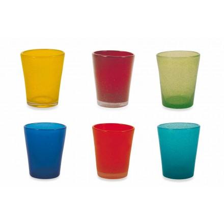 Serviço de copo de água 6 peças de vidro soprado e colorido - Yucatan Folk