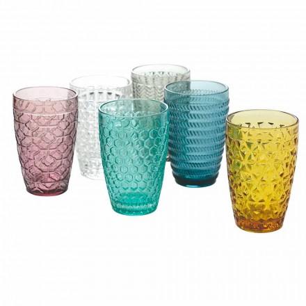 Conjunto de copos modernos em vidro colorido decorado com 12 peças - mistura