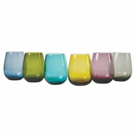 Copos de água de vidro colorido de design, 12 peças - aperi