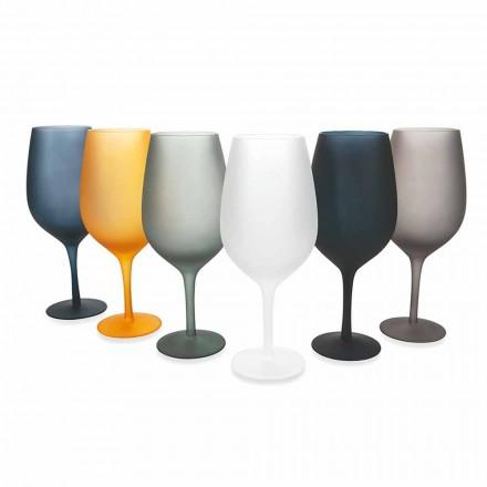 Conjunto de taças de vinho tinto ou branco em vidro colorido, 12 peças - borda