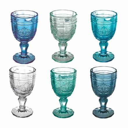 Conjunto de taças de vinho coloridas em vidro e decoração estilo oriental 12 peças - parafuso