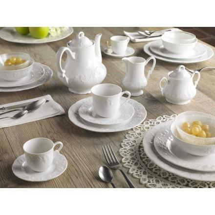 Serviço Completo de Café da Manhã 22 Peças em Porcelana Branca - Gimignano