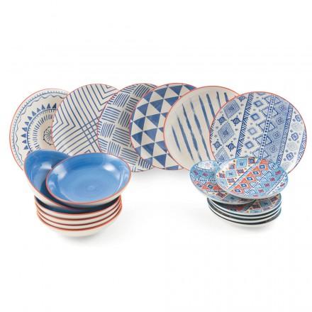 Serviço completo de mesa Pratos coloridos e modernos 18 peças de design - Incas